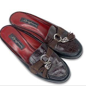 Brighton Alma Brown Croc Leather Tassel Mules Shoe